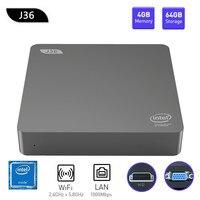 J36 V J3160 Мини ПК Windows 10 Intel Celeron J3160 4 Гб + 64 ГБ расширяемой 1 ТБ 2,5 дюймов HDD 2,4 ГГц/5,8 ГГц Wi Fi, BT4.0 USB3.0 HDMI + VGA