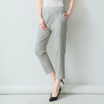 Summer Straight Pants Womens High Waist Loose Ankle-Length Pants Casual Solid Color Cotton Linen Trousers Large Size 4XL Pants & Capris