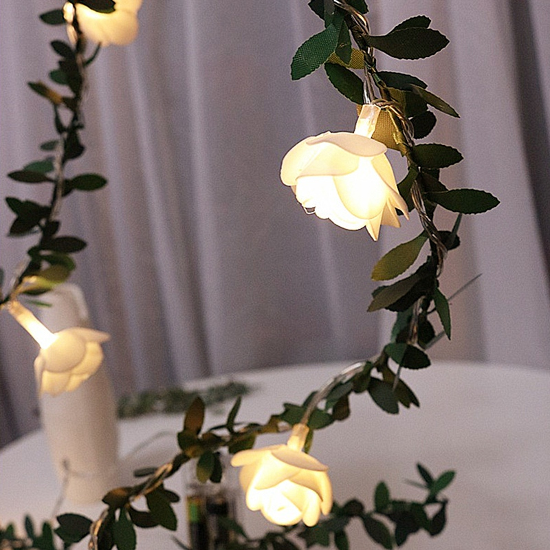 Leds Rose Flower Led Fairy String Lights Solar Powered Wedding Valentine's Day Event Party Garland Decor Luminaria