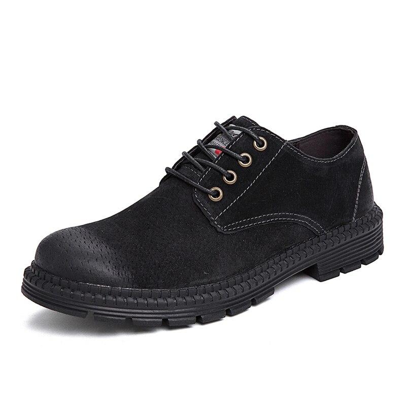 Зимние ботинки повседневная обувь из флока Мужская модная весенняя Мужская обувь удобная летняя мужская обувь на плоской подошве, большие размеры 38-47% 7118 - Цвет: Черный