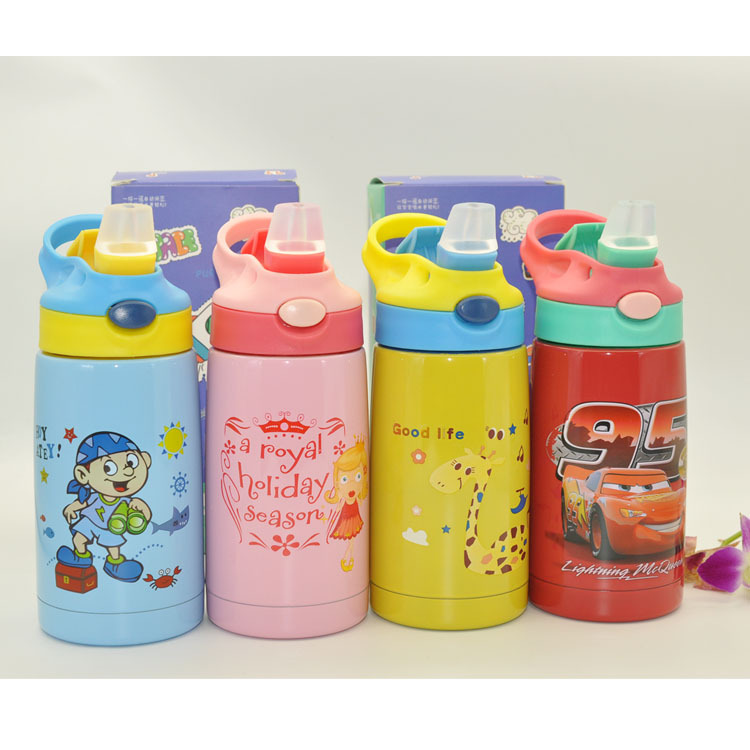 Cartoon Xiao Jing Zi Children Insulated Cup Anti Choking Straw 316 Stainless Steel Kettle Baby Nursery Leak-proof Cup