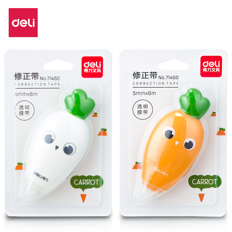 Deli Material Escolar 10pcs Kawaii Correction Tape Carrot Glue Tape White Out Correction Tape Cute School Thing Corrector Roller