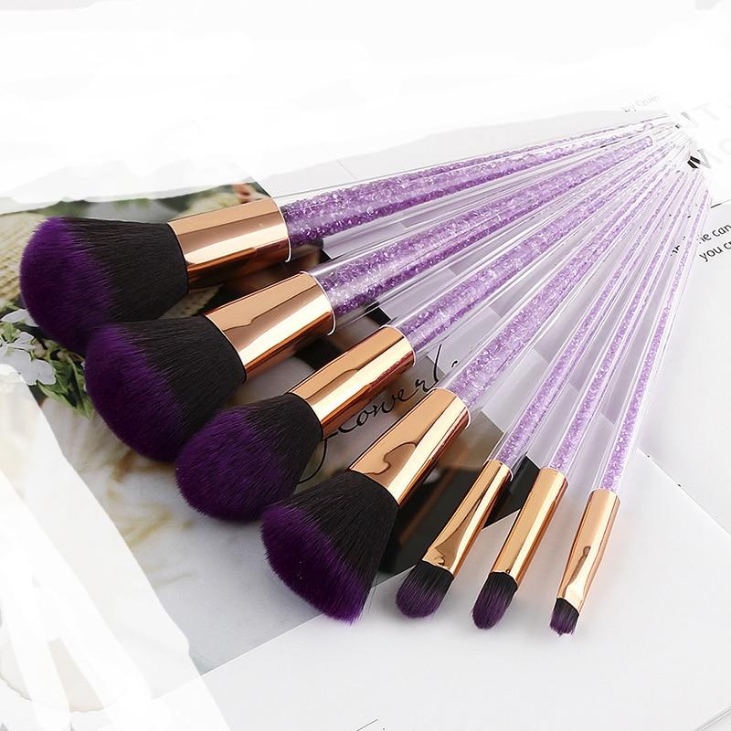 Beauté 7 pièces violet diamant licorne maquillage pinceaux ensemble cristal Portable fond de teint mélange poudre pinceaux cosmétiques