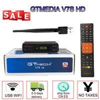 Gtmedia v7s hd smart tv por satélite receptor 1080 p DVB S2 + usb wifi suporte europa 7 linhas cline para espanha freesat v7s hd caixa de tv Receptor de TV via satélite     -