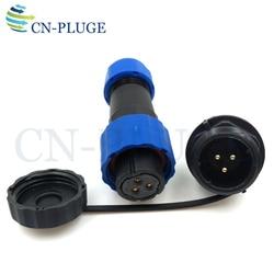 SP16 3pin Plugue Conectores À Prova D' Água, Automotivo Fio Da Aviação Masculino Soquete do Conector de montagem em Painel LED de Energia v