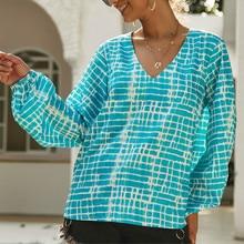 Autumn Women Sexy Loose Printed Geometric V-Neck  Shirt Long Sleeve Shirts Top