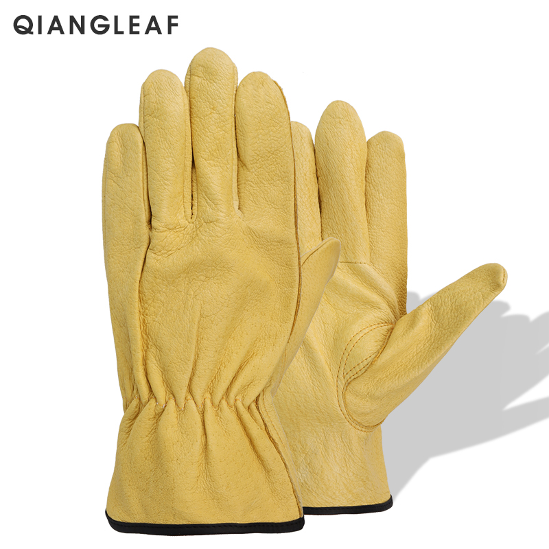 QIANGLEAF New Men's Work Gloves Pigskin Leather Security Protection Safety Cutting Working Repairman Garage Racing Gloves H92-in Safety Gloves from Security & Protection