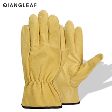 цена QIANGLEAF New Men's Work Gloves Pigskin Leather Security Protection Safety Cutting Working Repairman Garage Racing GlovesH92NP онлайн в 2017 году