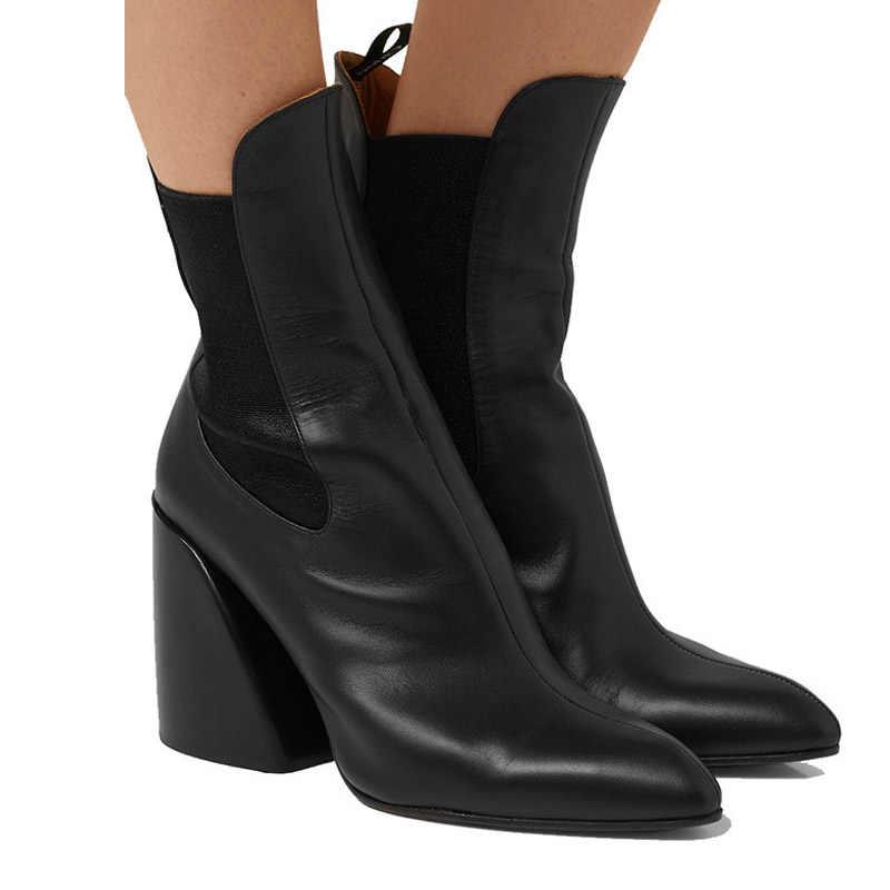 Blok topuk kadın yarım çizmeler yüksek topuklu streç çorap üzerinde kayma yılan baskı kadın patik güz 2019