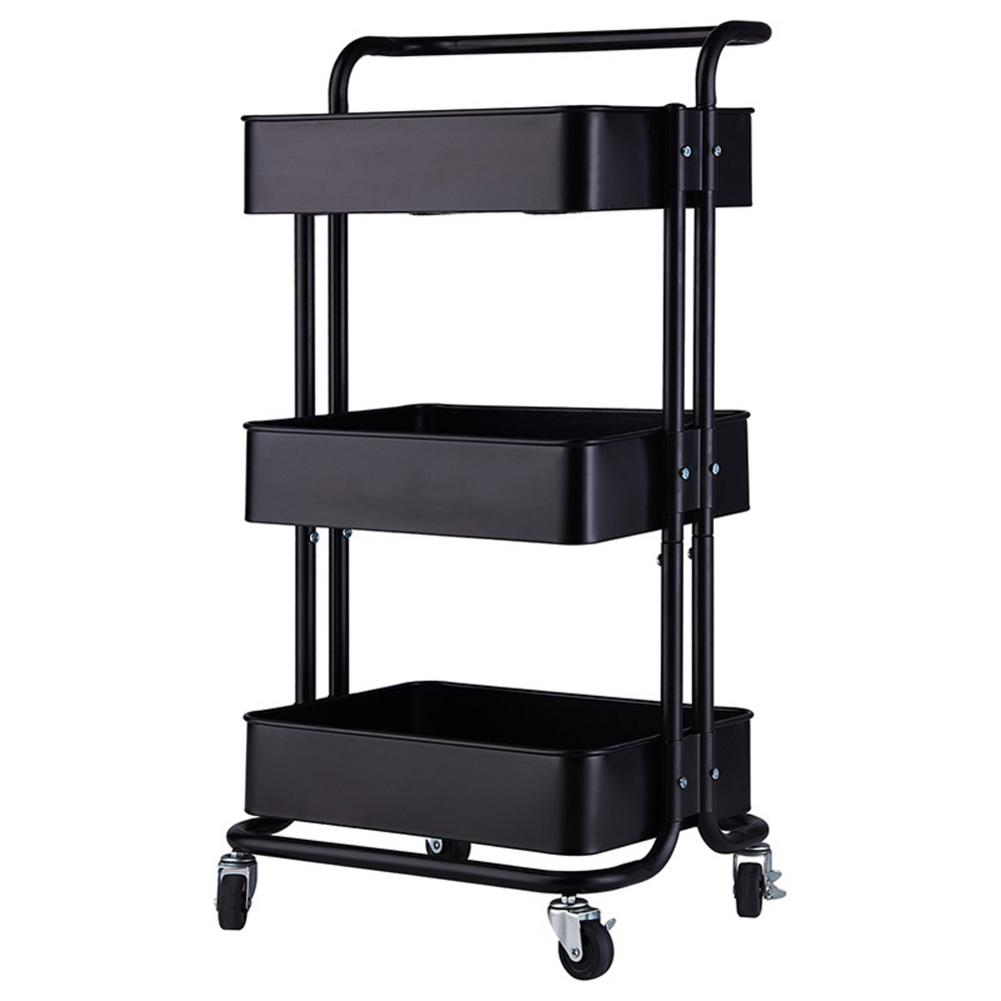 3-Tier Home Kitchen Storage Utility Cart With Handle 3 Colors For Choose