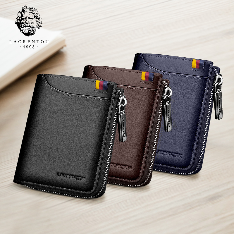 LAORENTOU Coin Purse For Men Genuine Leather Bifold Wallets Zipper Card Holder Wallets Standard Man Purse High Quality Wallet