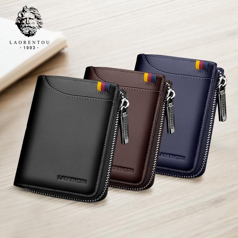 LAORENTOU Coin Purse For Men Genuine Leather Bifold Wallets Zipper Card Holder Wallets Standard Man Purse High Quality Wallet