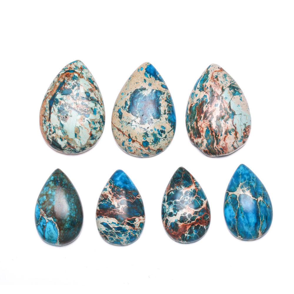 Natural Emperor Stone Cabochon Beads Flat Back Water Drop Shape No Hole Loose Beads For Jewelry Making DIY Ring Accessories