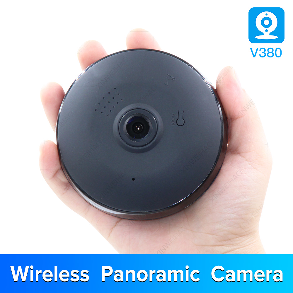 1.3MP/2.0MP Full View WIFI 360 Degree Two Way Audio Panoramic 960P/1080P Fisheye Wireless Smart IP Camera V380 Black Color