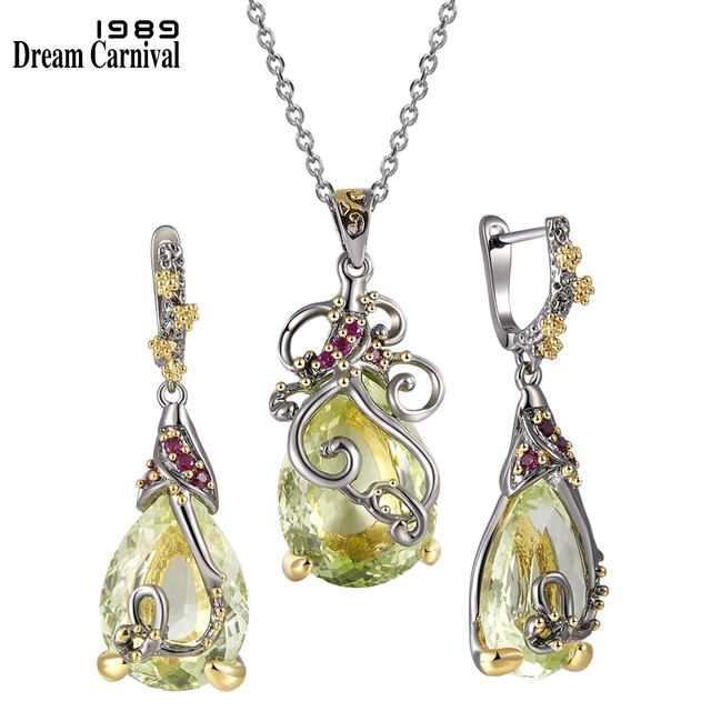 DreamCarnival1989 Big Dazzling Zirconia Necklace + Earrings Set Fashion Gift Hot Pick Anniversary Dating Must Have EP3876S2