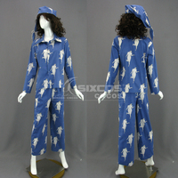 Attack On Titan Levi·Ackerman Cosplay Costume Comfortable Fashion Blue Printing Sleepwear Unisex Daily Wear Custom Make Any Size