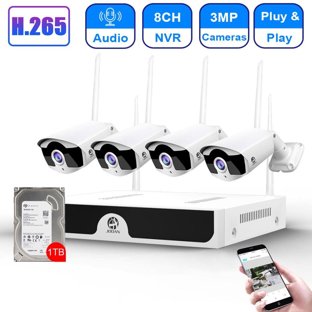 CCTV Camera System Wireless HD 8CH NVR 4CH 3MP Wifi Camera Kit Audio Video Surveillance Home Security Set 1TB Hard Drive Disk