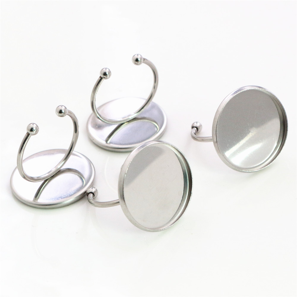 20mm 5pcs/Lot No Fade Stainless Steel Adjustable Ring Settings Blank/Base,Fit 20mm Glass Cabochons-Y7-01