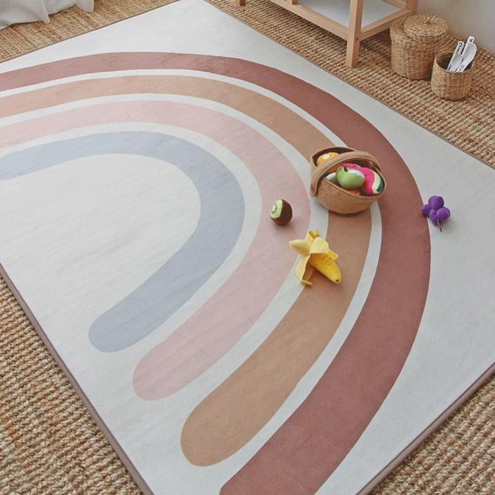 1PCS Baby Crawling Blanket Kids Rainbow Crawling Carpet For Home Living Room Non-slip Baby Play Mats Photography Props 145*105cm