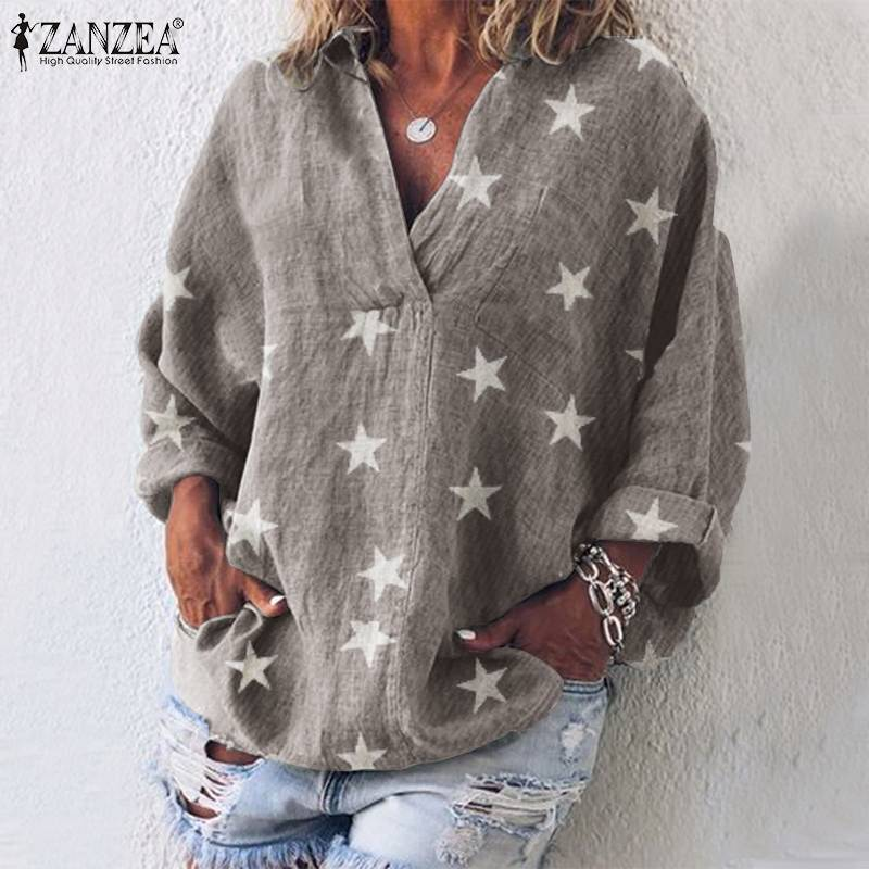 ZANZEA 2019 Fashion Women Tops And Blouses Cotton Star Print Shirt Casual Long Sleeve Tunic Tops Blusas Chemiser Mujer Plus Size