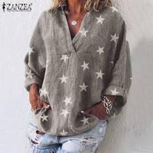 ZANZEA 2020 אופנה נשים חולצות וחולצות כותנה כוכב הדפסת חולצה מזדמן ארוך שרוול טוניקת חולצות Blusas בייבידול Mujer בתוספת גודלחולצות נשים וחולצות