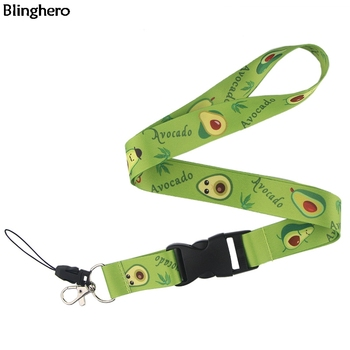 20 unids/lote Blinghero lindo aguacate cordones fruta llaves Tarjeta de Identificación teléfono titular Hnag cuerda con llaves teléfono DIY correa de cuello BH0188