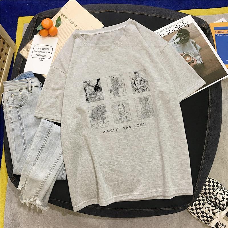 Closeout DealsüT-Shirt Short-Sleeve David-Print Harajuku Funny Loose Black White Large-Size Casual Women