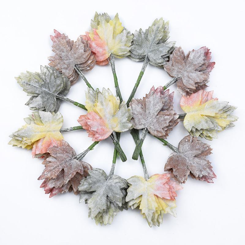 12PCS Artificial plants Fake Maple leaf diy gifts box wedding decorative flowers wreath Latex leaves christmas decor for home