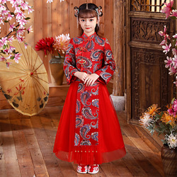 Осенне-зимнее платье Hanfu с длинным рукавом для девочек, красная Новогодняя одежда, одежда для выступлений, костюм на день рождения, свадьбу, ...
