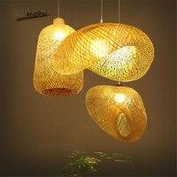 Modern Bamboo lamp Art pendant light lighting Restaurant Hotel Rattan pendant lamp for living room hanging lamp kitchen fixtures