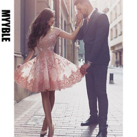 2020 MYYBLE Homecoming Dresses A line Off The Shoulder Knee Length Tulle Appliques Lace Elegant Cocktail Dresses