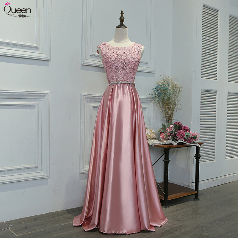 Appliques Bow Evening Dresses Long Elegant Queen Abby A-line O-Neck Sleeveless V-opening Back Women Formal Wedding Guest Gowns