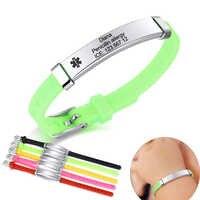 Personalisieren Kinder Medical Alert ID Armband für Baby Mädchen Jungen Silikon Band mit Edelstahl Tag Custom Notfall Erinnerung