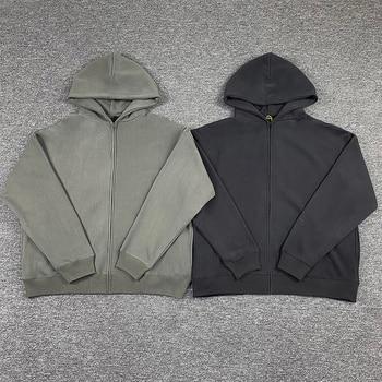 Heavy Fabric Solid Color Kanye West Season 6 Zip Hoodie Men Women 1:1 Best Quality Casual Loose Gray Sweatshirts 1