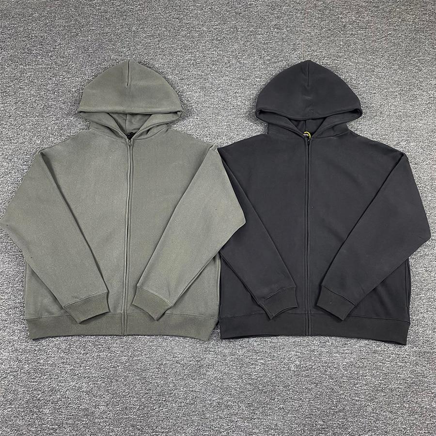 11 melhor qualidade casual solto cinza sweatshirts tecido pesado cor sólida kanye oeste temporada 6 zip hoodie masculino