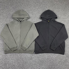 1:1 melhor qualidade casual solto cinza sweatshirts tecido pesado cor sólida kanye oeste temporada 6 zip hoodie masculino
