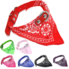 Pet Dog Collars  Harnesses Pu Leather Colorful Print Scarf Slobber Towel Design Personalized Dogs Cats Collares Set  Para Perros