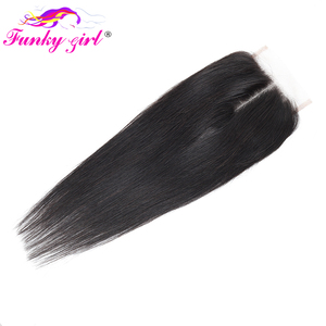 Image 4 - Funky Girl Brazilian Hair Weave 3 Bundles With Lace Closure Free Part Straight Human Hair Bundles With Closure Non remy Hair