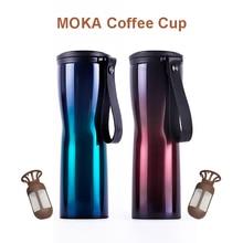 원래 KissKissFish MOKA 스마트 커피 컵 여행 낯 짝 스테인레스 스틸 430ml 휴대용 OLED 터치 스크린 온도 디스플레이