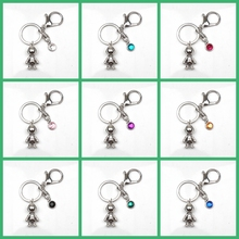New 9 Color Crystal Stone Astronaut Key Ring Man Woman Spaceman Keychain Couple Boyfriend Jewelry Gift Chain Charm Bag Car