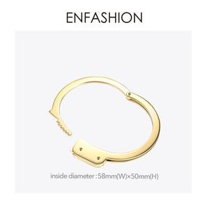 Image 4 - ENFASHION Handcuffs Cuff Bracelet Manchette Gold Color Stainless Steel Punk Bracelets Bangles For Women Fashion Jewelry B192057