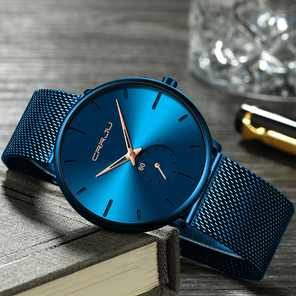 Hb614ef16ce1d4fafb2dbe73cd4507501I CRRJU Ultra Thin Blue Stainless steel Quartz Watches Men Simple Fashion Business Japan Wristwatch Clock Male Relogio Masculino
