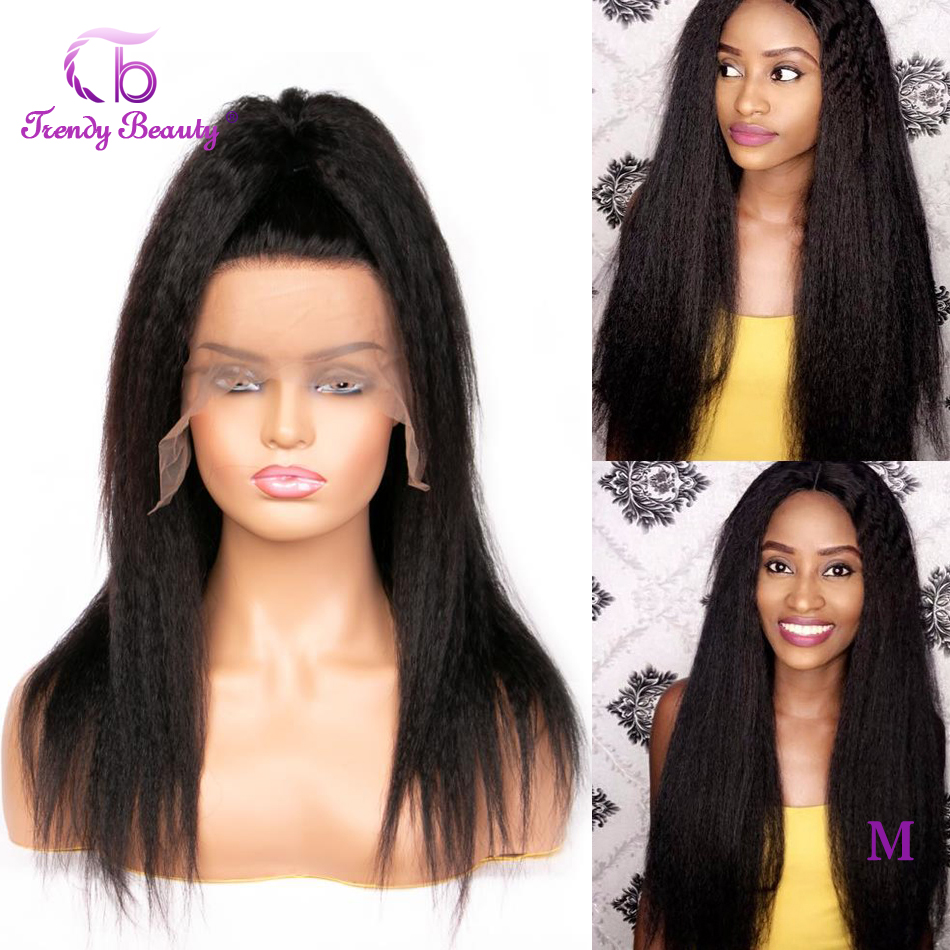 Kinky Straight Wigs Human-Hair-Wigs Lace-Front Beauty Black Women Peruvian Trendy