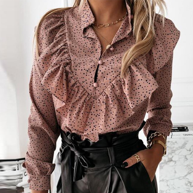 Casual Leopard Dot Print Ruffle Blouse Shirt Autumn Winter Long Sleeve Women Shirts Elegant Office Lady V-Neck Button Tops Blusa 2