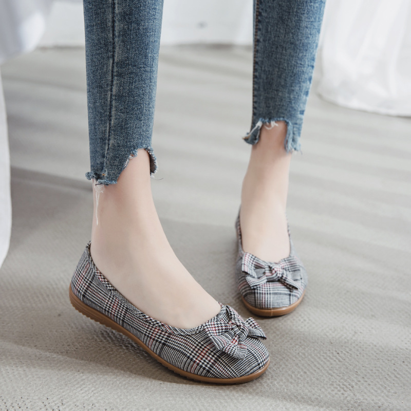 Image 5 - Women Cloth Shoes Casual Loafers Slip On Ballerina Flats Bow Lattice Shallow Single Shoes Breathable Round Toe Zapatos Mujer NewWomens Flats   -