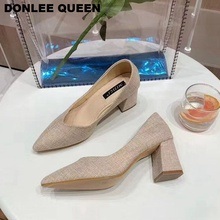 DONLEE QUEEN Women Pumps High Heels Shoes Pointed Toe Shallow Shoes For Women Wedding Party Shoes Thick Square Heel Office Lady Work Shoes Slip On Med Heel Autumn Footwear Casual Hemp Shoes Chaussure   zapatos de mujer plus size 34 46 fashion high heels shoes women pumps square heel pointed toe dress pumps shallow party stilettos ladies footwear