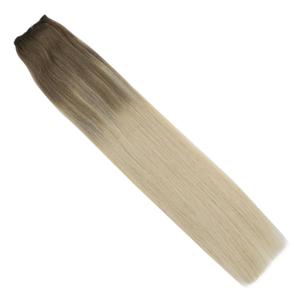 VeSunny One Piece Clip In Hair Extensions Human Hair Clip On Extensions Balayage Color #14/60 Light Brown Mix Blonde 5 Clips