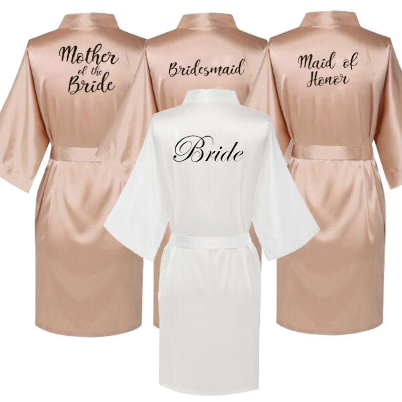 Satin Silk Robes Plus Size Wedding BathRobe Bride Bridesmaid Dress Gown Women Clothing Sleepwear Maid Of Honor Rose Gold