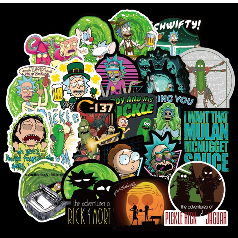 100Pcs American Drama Rick And Morty Sticker Decal For Snowboard Luggage Car Fridge Car- Styling Laptop Stickers