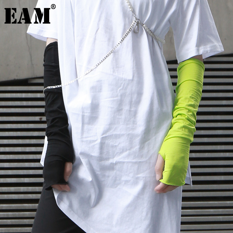 [EAM] 2020 New Spring Summe Summer Elastic Sunscreen 8 Colors Personality Finger Arm Sleeve Black Single One Piece JX406